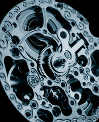 close up of vintage mechanical watch caliber gears