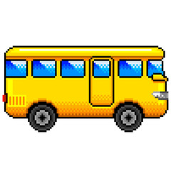 Pixel yellow bus detailed illustration isolated vector