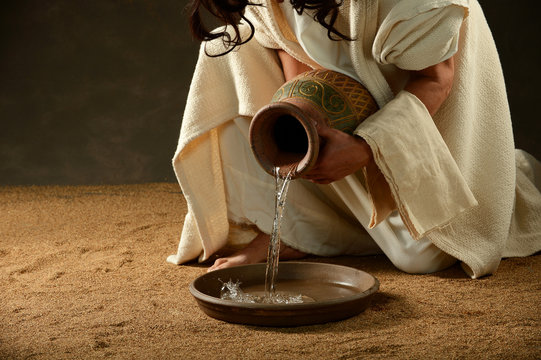Jesus pouring water from a jar