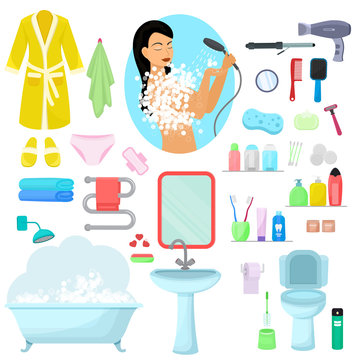 Hygiene personal care vector beautiful woman showering hygienic bath products in bathroom illustration set of bodycare toiletries soap shampoo shower gel icons isolated on white background