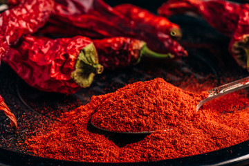 Ground and dried red chili peppers