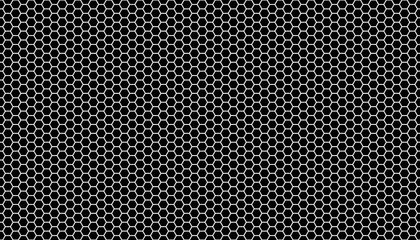 White honeycomb on a black background. Seamless texture. Isometric geometry. 3D illustration