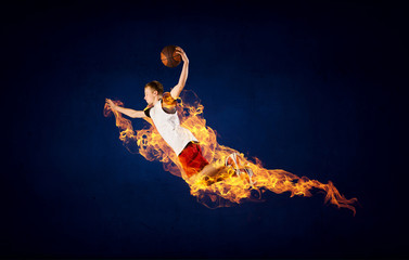 Basketball Player on Fire