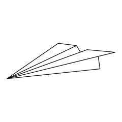 Paper plane isoted black and white