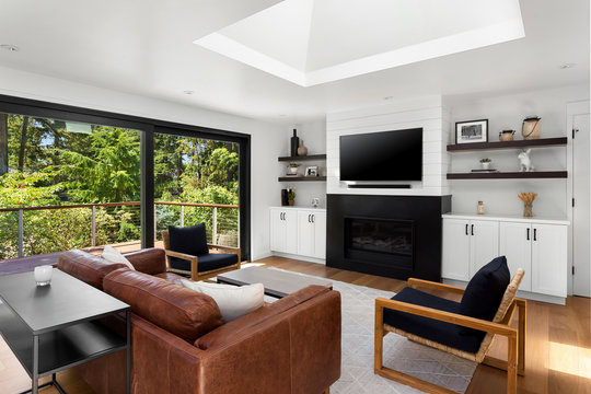 Beautiful living room in new home with exterior view of trees, fireplace, and tv. Large skylight fills the room with light.