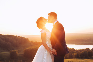 The bride and groom hold hands and kiss in nature during sunset
