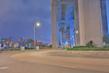a night view of Stonecutter bridge hk