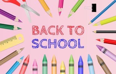 Back to school text with school supplies on pink background. Vector illustration