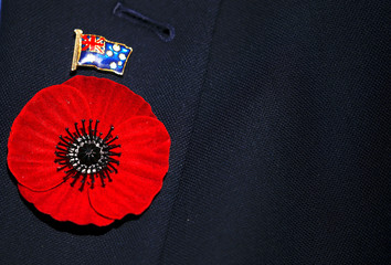 A representative of an ex-servicemen's organisation wears a poppy flower and an Australian flag badge during a memorial service at the ANZAC Memorial to mark the centenary of the Armistice ending World War One, in Sydney