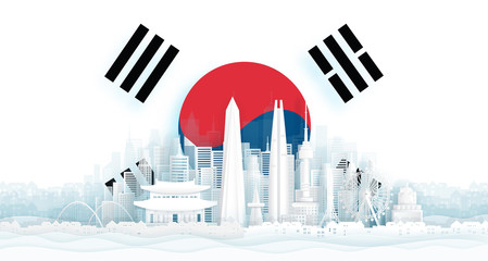 Wall Mural - South Korea flag and famous landmarks in paper cut style vector illustration.