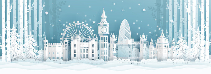 Fototapete - Panorama postcard and travel poster of world famous landmarks of London ,England in winter season in paper cut style vector illustration
