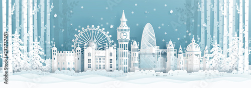 Fototapete Panorama postcard and travel poster of world famous landmarks of London ,England in winter season in paper cut style vector illustration