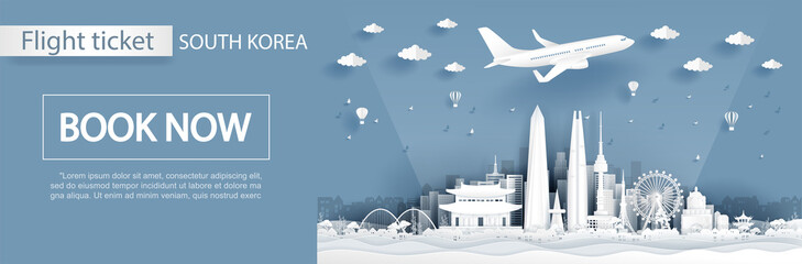Fototapete - Flight and ticket advertising template with travel to South Korea concept, Taipei famous landmarks in paper cut style vector illustration