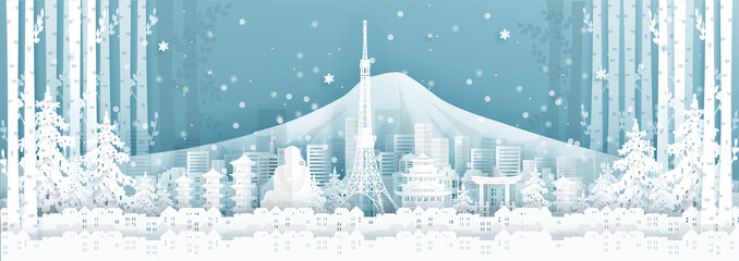 Fototapete - Panorama postcard and travel poster of world famous landmarks of Japan in winter season in paper cut style vector illustration