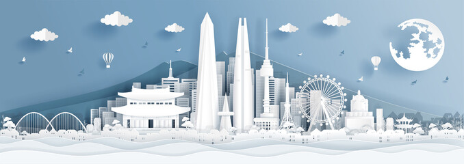 Wall Mural - Panorama postcard of world famous landmarks of Korea in paper cut style vector illustration