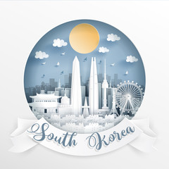 Fototapete - World famous landmark of South Korea with white frame and label. Travel postcard and poster, brochure, advertising Vector illustration.