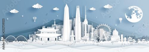 Fototapete Panorama postcard of world famous landmarks of Korea in paper cut style vector illustration