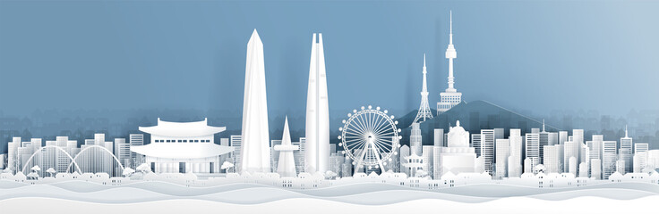Fototapete - Panorama of South Korea with world famous landmarks in paper cut style vector illustration