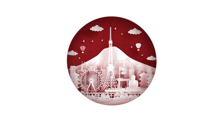 Fototapete - Japan flag with famous landmarks, Tokyo skyline and Fuji mountain in paper cut style vector illustration