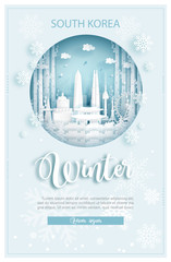 Fototapete - Winter in South Korea for travel and tour advertising concept with world famous landmark in paper cut style vector illustration.
