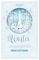 Fototapete - Winter in Amsterdam for travel and tour advertising concept with world famous landmark in paper cut style vector illustration.