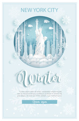 Fototapete - Winter in New York City, America for travel and tour advertising concept with world famous landmark in paper cut style vector illustration.