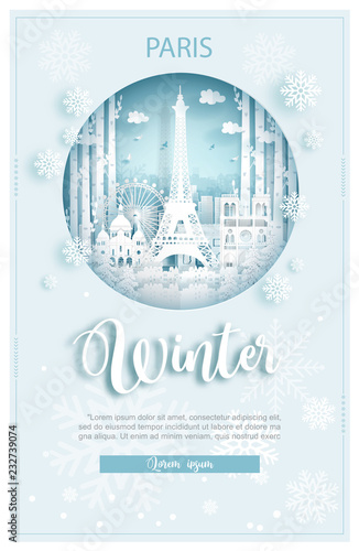 Fototapete Winter in Amsterdam for travel and tour advertising concept with world famous landmark in paper cut style vector illustration.