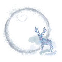 Deer Shape in Snowflakes with Foggy Round Frame. Winter Snowflake Design  for Christmas, New Year, and Winter Holidays Print, Card, Invitation, Announcement, Decoration etc.