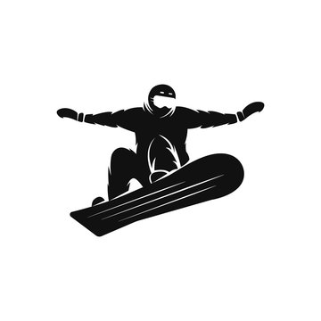 Silhouette of a snowboarder on the snowboard free rider jumping in the air, extreme snowboarding sport logo mockup