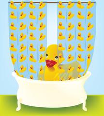 Yellow Rubber Ducky in Bathtub
