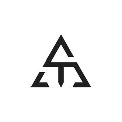letter sm triangle geometric logo vector