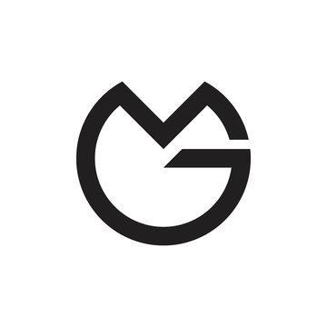 letters mg circle geometric logo vector