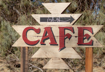 Old hand painted Cafe Sign at Closed Restaurant