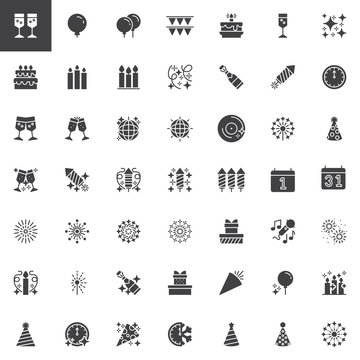 New Year vector icons set, modern solid symbol collection, filled style pictogram pack. Signs, logo illustration. Set includes icons as Champagne glasses cheers, Party Balloons, Bunting flag, Firework