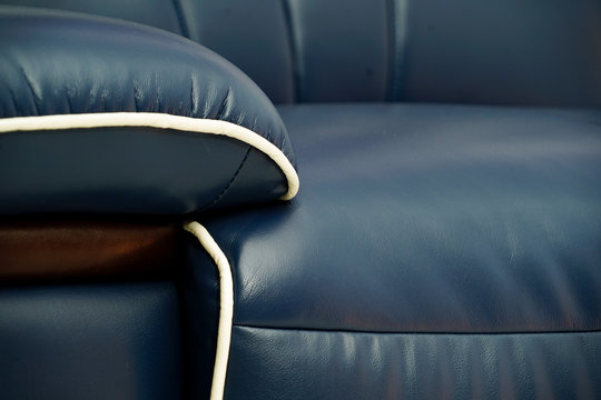 Blue leather couch detail sofa