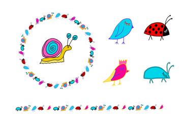 Doodle snail, birs, bug, ladybug.