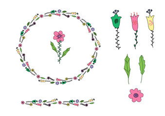 Pink, yellow, green flower doodle and doodle leaves in circle shape. Wreath and flower brush.