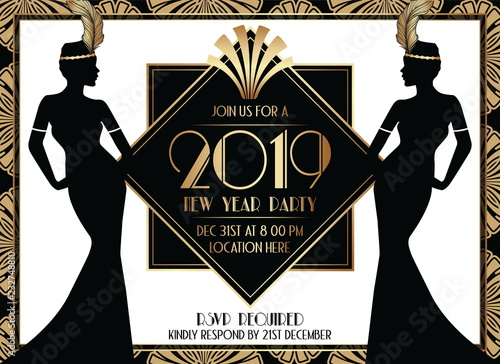 2019 geometric gatsby art deco style new year party invitation design with woman