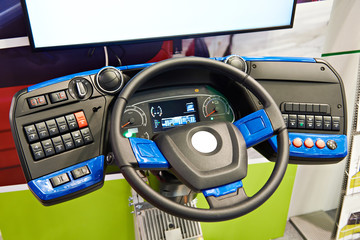 Simulator steering wheel and dashboard of electric bus