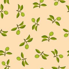 Citrus lime branch seamless pattern