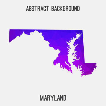 Maryland map low poly geometric polygonal,mosaic style,abstract tessellation,modern design background. Geometric cover, mockup. Vector illustration EPS10.