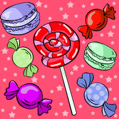 Seamless pattern with candies, macarons and lollipop on red backgrounds. Wallpaper and fabric design.