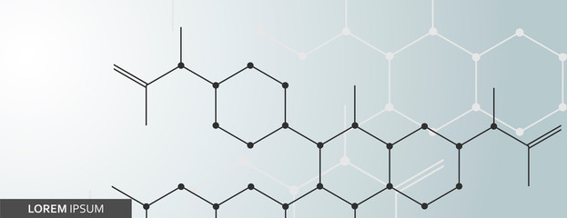 Hexagonal abstract molecular structure and geometric background