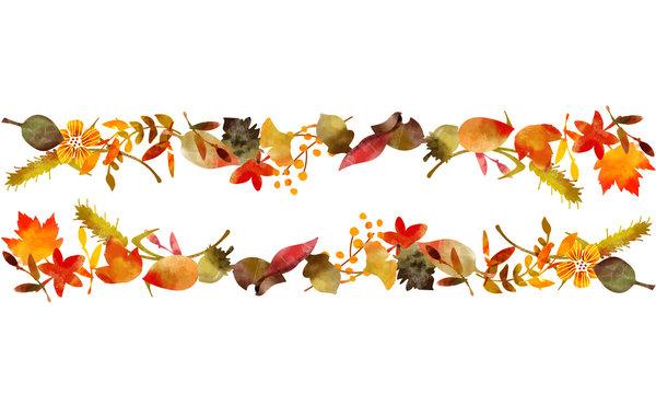 秋の落葉イラスト ヘッダーライン