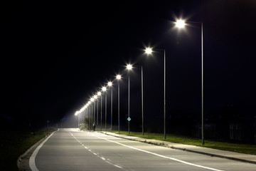 night empty road with modern LED street lights Fotomurales