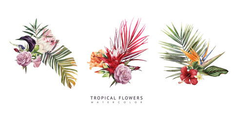Bouquet with tropical flowers, can be used as greeting card, invitation card for wedding, birthday and other holiday and  summer background