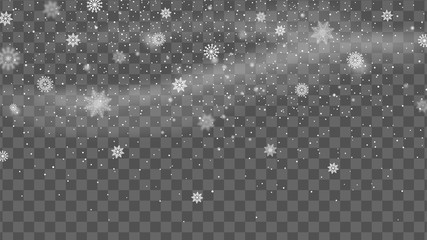 Christmas background with falling snow. Snowflake on transparent background. Winter holiday pattern. Vector illustration