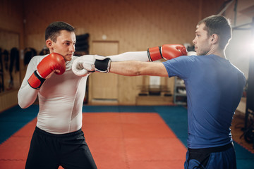 Two male kickboxers practicing on workout in gym
