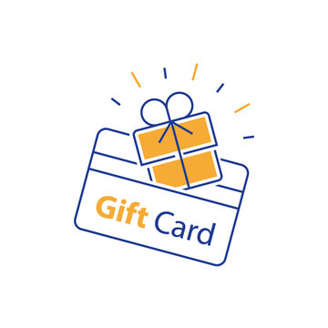 Incentive gift, loyalty card, collecting bonus, earn reward, redeem gift, shopping perks, discount coupon, win present, line icon
