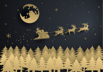 Santa Claus Is Coming with gold snowflake,moon and christmas tree ,merry christmas ,happy new year.